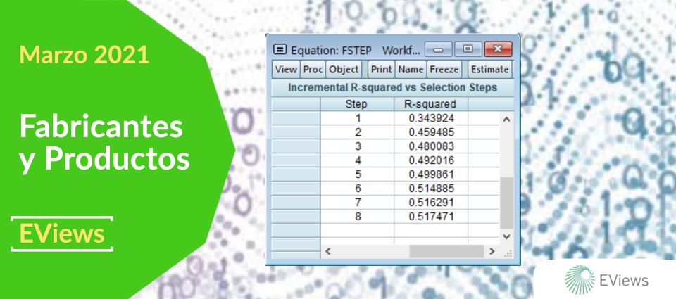 EViews 12 -  nuevas funciones de selección de variables menores